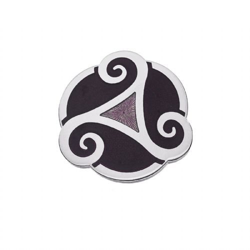 Celtic Triskele Purple Brooch Silver Plated Brand New Gift Packaging